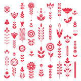 Red flower set pattern Stock Images
