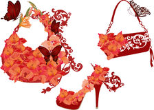 Red flower shoe and bags Stock Photo