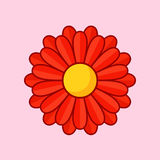 Red Flower. Simple illustration of red flower with contour. Separate bloom Stock Photography