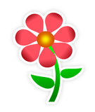 Red Flower Sticker Stock Photos