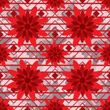 Red flower style seamless pattern Royalty Free Stock Images