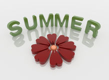 Red Flower and Summer Word , 3D Isolated Over White. Red Flower and green summer word on  a reflective white floor, 3D illustration Stock Images