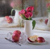 red flower white jug mirror still life stock photography