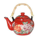 Red Flowered Teapot Royalty Free Stock Photography