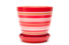 Red flowerpot. Isolated on white background Royalty Free Stock Image
