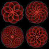 Red Flowers. Set of stylized red flowers (combinable at will Royalty Free Stock Photos
