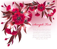 Red flowers. Decorative floral background with red flower pattern Stock Photography