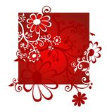 Red flowers. Red decorative flowers on a red-white background Stock Images