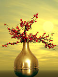 Red flowers. A pot off royalty free stock images