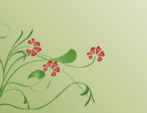 Red flowers. On green background Stock Photos