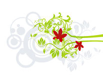 Red flowers. With grey abstract circles Royalty Free Stock Photo