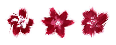 Red flowers abstract brush paint. Sketch set stock illustration