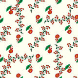 Red flowers and autumn berries seamless pattern background Stock Photo