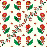 Red flowers and autumn berries seamless pattern background Royalty Free Stock Image
