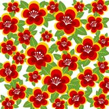 Red flowers background. Abstract  pattern with red flowers  on a white background Royalty Free Stock Photography