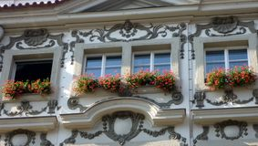Red Flowers on Balconies, Prague Royalty Free Stock Photos