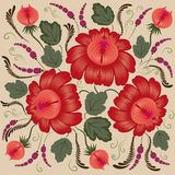 Red flowers on a beige background Royalty Free Stock Image