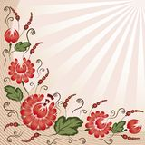 Red flowers on a beige background Stock Images