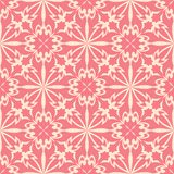 Red flowers on beige background. Ornamental seamless pattern Royalty Free Stock Photo