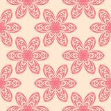 Red flowers on beige background. Ornamental seamless pattern. For textile and wallpapers Royalty Free Stock Photo