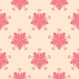 Red flowers on beige background. Ornamental seamless pattern. For textile and wallpapers Stock Images