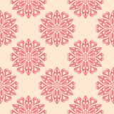 Red flowers on beige background. Seamless pattern. Red flower elements on beige background. Seamless pattern for textile and wallpapers Stock Photos