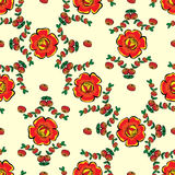 Red flowers and berries seamless pattern background Stock Photo