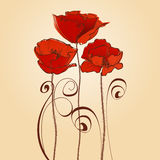 Red flowers celebratory card Stock Image
