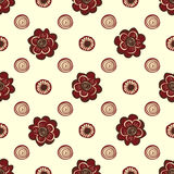 Red flowers and circles pattern natural seamless background. Red flowers and circles seamless nature pattern  background Royalty Free Stock Photo