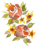 Red flowers. Color illustration of red flowers in watercolor painting. Can be used as greeting card, invitation card for wedding, birthday and other holiday and Royalty Free Illustration