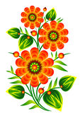 Red flowers decorative folk element vector EPS 10 Stock Photography