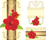 Red flowers on the decorative ribbon with ornament Stock Image