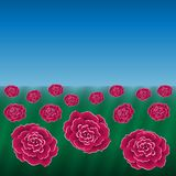 Red flowers field on blue sky background. Vector illustration in eps10 Royalty Free Stock Image