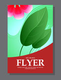 Red flowers on a flyer. Can be used as greeting cards or wedding invitation. Vector Stock Photos