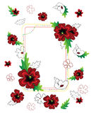 Red flowers frame composition. Dekorative framekomposition consisting of red flowers Stock Illustration