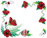 Red flowers frame composition. Dekorative framekomposition consisting of red flowers royalty free illustration