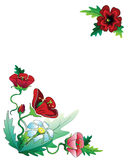 Red flowers frame composition. Dekorative framekomposition consisting of red and blue flowers royalty free illustration