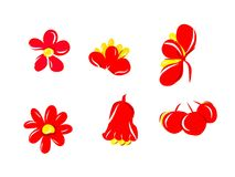 Red flowers and fruit. The red flower and fruit, enjoy the red lover Stock Images