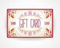 Red flowers gift card template Stock Images