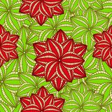 Red flowers on Green Palm Leave Royalty Free Stock Photography