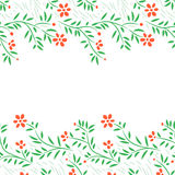 Red flowers horizontal frame seamless border on white, vector. Background Stock Photography