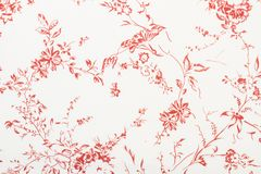 Red flowers and leaves paper texture. In close up view royalty free illustration