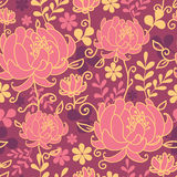 Red flowers and leaves seamless pattern background Stock Photography