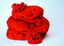 Red flowers on Mohair Stock Images
