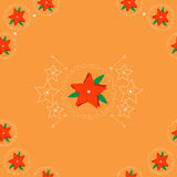 Red flowers on orange background. Seamless pattern with red flowers on orange background. Perfect for Christmas packaging. Vector format available Stock Photography