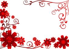 Red Flowers Ornament. Illustration of red flowers and curly shape Royalty Free Stock Photo