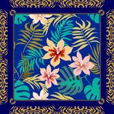Blue silk scarf with tropical floral pattern. vector illustration