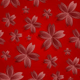 Red flowers pattern. Abstract seamless texture; vector art illustration Royalty Free Stock Photos