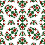 Red flowers pattern. Background illustration vector seamless pattern red flowers green leaves Royalty Free Stock Photography