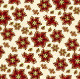 Red Flowers Pattern Composition. Floral fabtic style pattern in vibrant red color in white background Royalty Free Stock Images